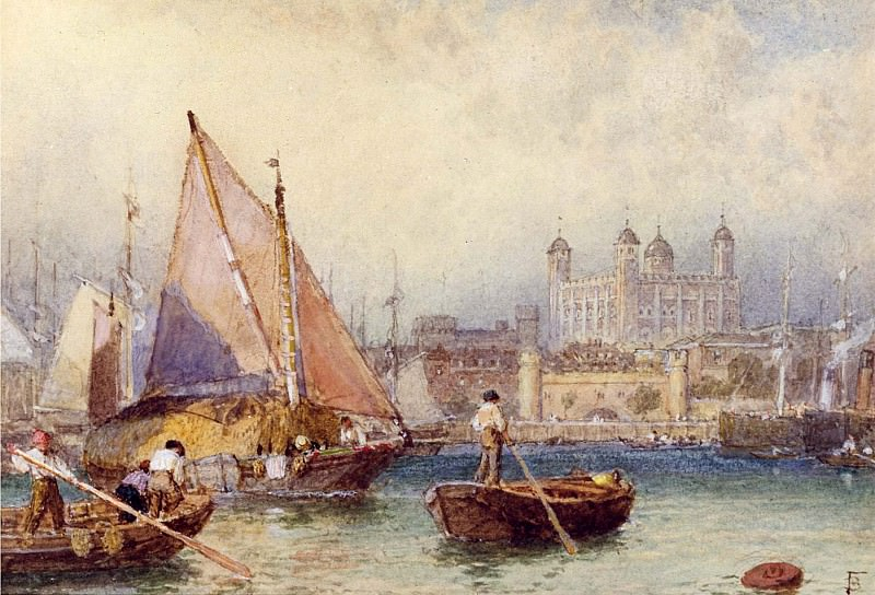 Myles Birket Foster The Tower of London from the Thames Putney Bridge 12044 2426. часть 4 -- European art Европейская живопись