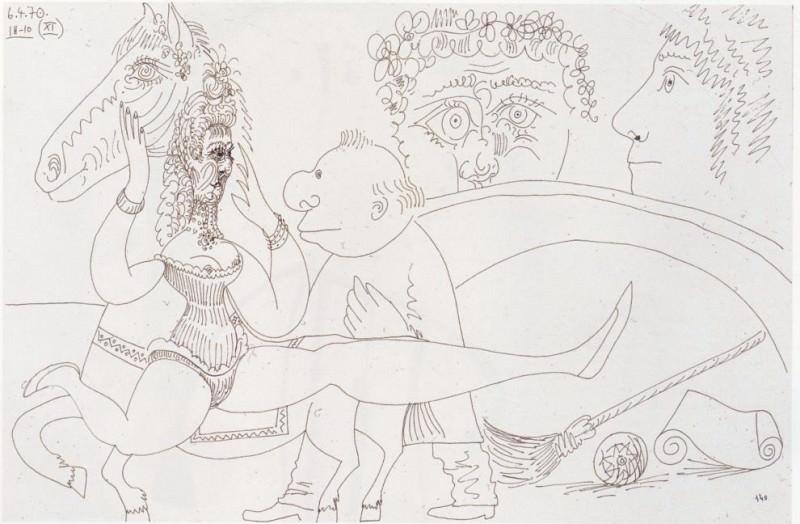 Pablo PICASSO L'Ecuyere 1970 40141 1184. часть 4 - европейского искусства Европейская живопись