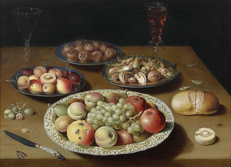 """OSIAS BEERT """"Still life of Bowls with Fruit and Nuts Bread Two Wine Glasses and a Knife"""" 32310 316. часть 4 -- European art Европейская живопись"""