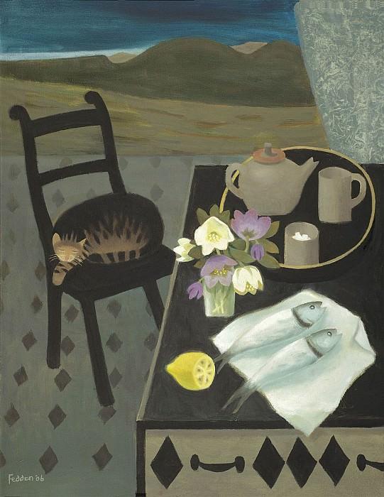 Mary Fedden Sleeping cat 98361 20. часть 4 -- European art Европейская живопись