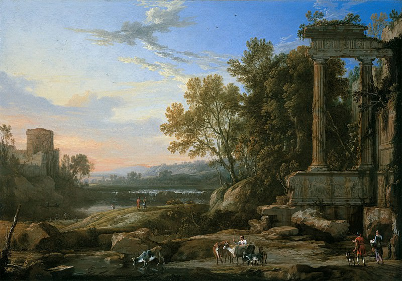 PIERRE ANTHONIE PATEL THE ELDER An Italianate landscape with a cattle herder and other figures by Roman ruins 90219 184. часть 4 -- European art Европейская живопись
