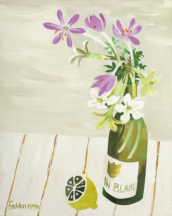 Mary Fedden Autumn crocuses in a wine bottle with a lemon 98179 20. часть 4 -- European art Европейская живопись
