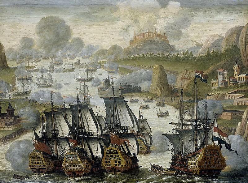 Неизвестный художник -- Морское сражение в заливе Виго 23 октября 1702 г. Эпизод войны, успешной для испанцев, 1705. Рейксмузеум: часть 2