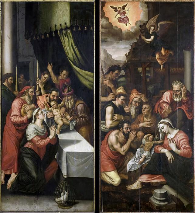 Unknown artist -- Twee zijluiken van een altaarstuk met de besnijdenis (links) en de aanbidding der herders (rechts), 1570. Rijksmuseum: part 2