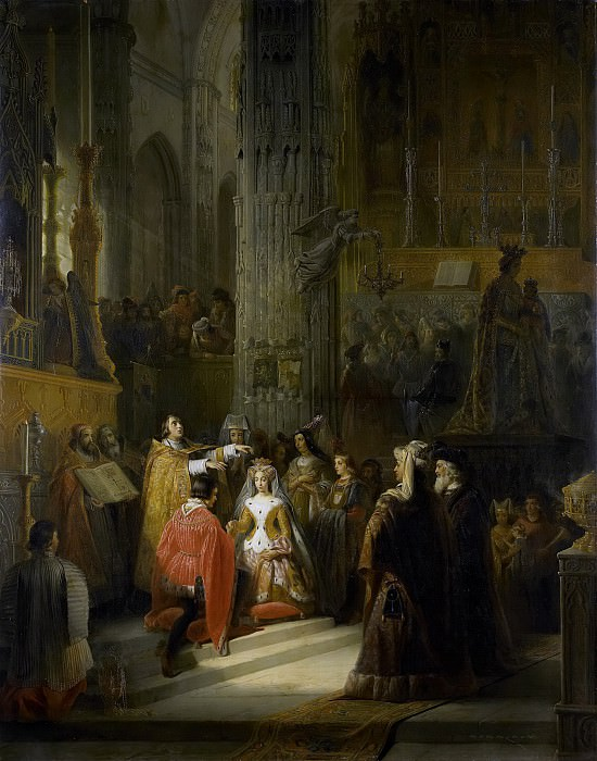 Eeckhout, Jacob Joseph -- Het huwelijk van Jacoba van Beieren, gravin van Holland, en Jan IV, hertog van Brabant, op 10 maart 1418, 1839. Rijksmuseum: part 2