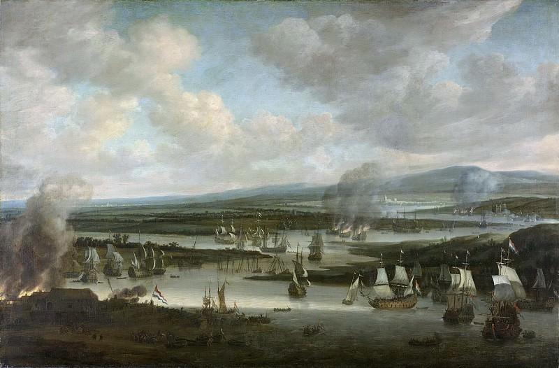 Schellinks, Willem -- Het verbranden van de Engelse vloot bij Chatham, juni 1667, tijdens de Tweede Engelse Zeeoorlog (1665-1667), 1667-1678. Rijksmuseum: part 2