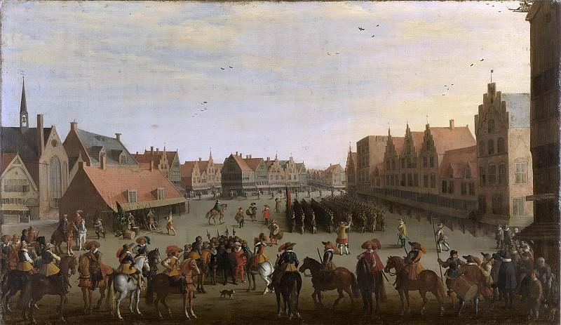 Droochsloot, Joost Cornelisz. -- Het afdanken der waardgelders door prins Maurits op de Neude te Utrecht, 31 juli 1618, 1625. Rijksmuseum: part 2