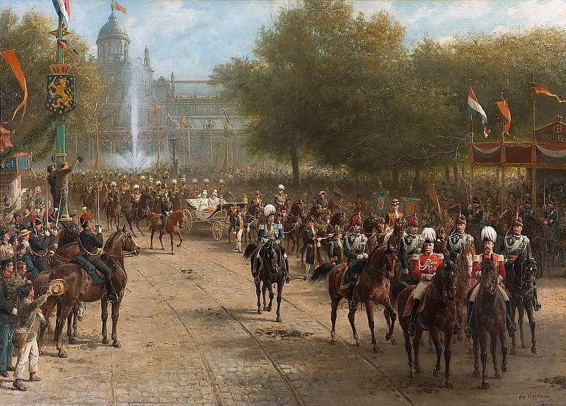 Eerelman, Otto -- Het Frederiksplein te Amsterdam tijdens de intocht van koningin Wilhelmina, 5 september 1898, 1898-1900. Rijksmuseum: part 2