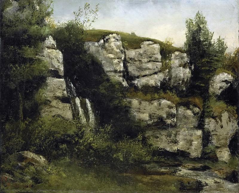 Courbet, Gustave -- Landschap met rotsen en waterval, 1872. Rijksmuseum: part 2
