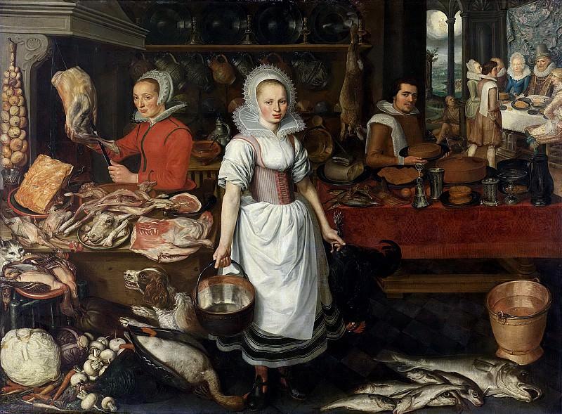 Rijck, Pieter Cornelisz. van -- Keukeninterieur met de gelijkenis van de rijke man en de arme Lazarus, 1610-1620. Rijksmuseum: part 2