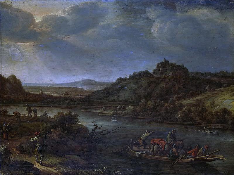 Херман Сафтлевен -- Река и паром, 1655. Рейксмузеум: часть 2
