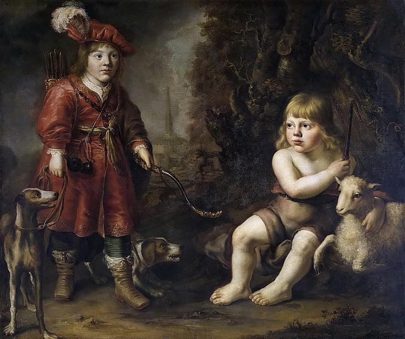 Доуве Ювес де Дове -- Портрет двух детей на фоне пейзажа, одного в образе охотника, другого в образе Иоанна Крестителя. Рейксмузеум: часть 2