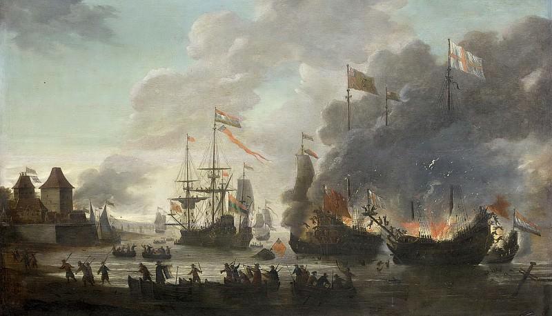 Leyden, Jan van -- De Hollanders steken Engelse schepen in brand tijdens de tocht naar Chatham, 20 juni 1667, 1667-1669. Rijksmuseum: part 2