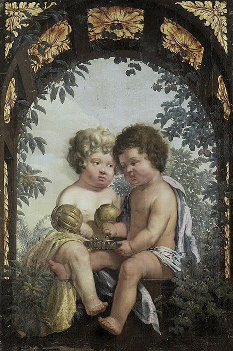 Неизвестный художник -- Христианская аллегория с двумя детьми, опорожнившими в чашу свой графин каждый, 1650-1699. Рейксмузеум: часть 2