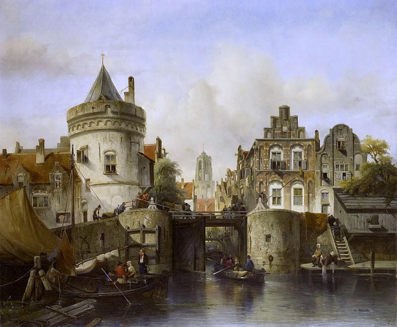 Verveer, Samuel -- Stadsgezicht, geïnspireerd op de Kolksluis te Amsterdam, 1839. Rijksmuseum: part 2