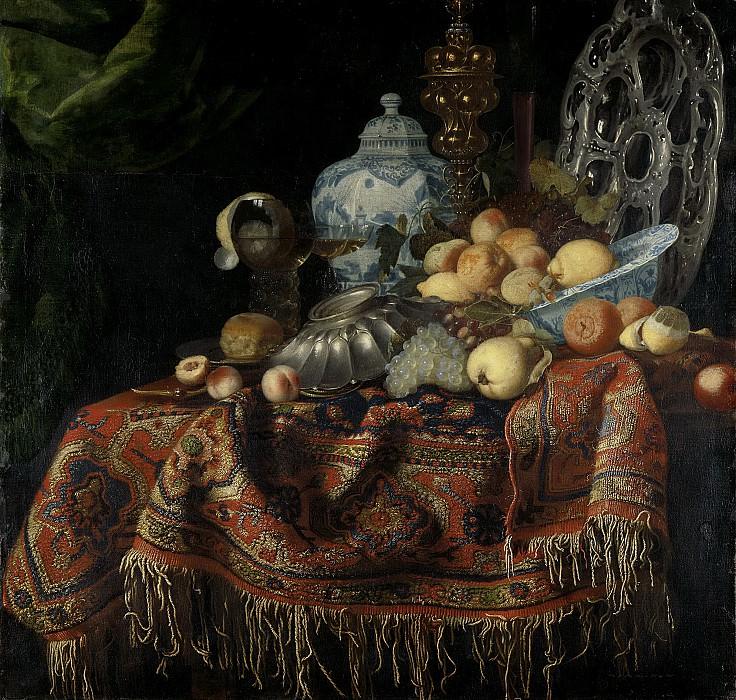 Fieravino, Francesco (genaamd Il Maltese) -- Stilleven met vruchten en vaatwerk op een Smyrna kleed, 1650-1680. Rijksmuseum: part 2