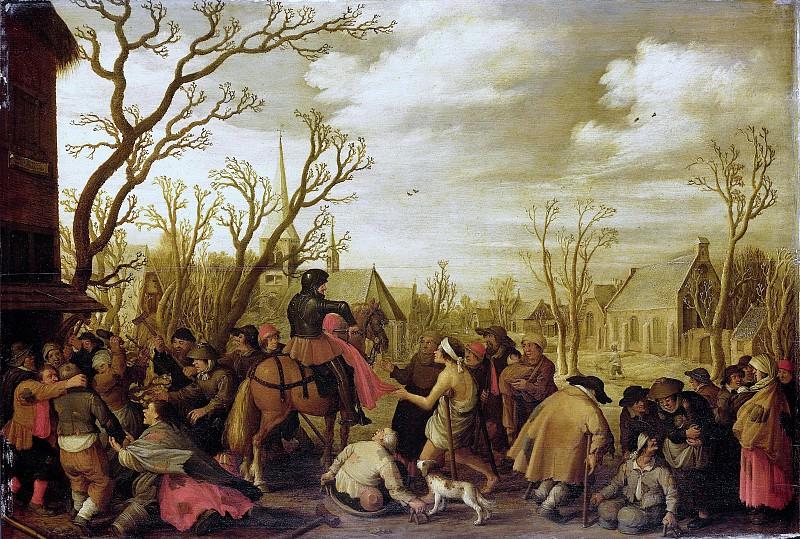 Droochsloot, Joost Cornelisz. -- Sint Maarten snijdt een stuk van zijn jas af om aan een bedelaar te geven, 1623. Rijksmuseum: part 2