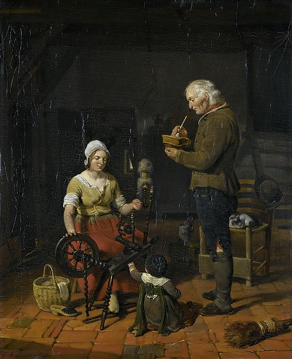 Kruseman, Cornelis -- Boerengezin in interieur, 1817. Rijksmuseum: part 2