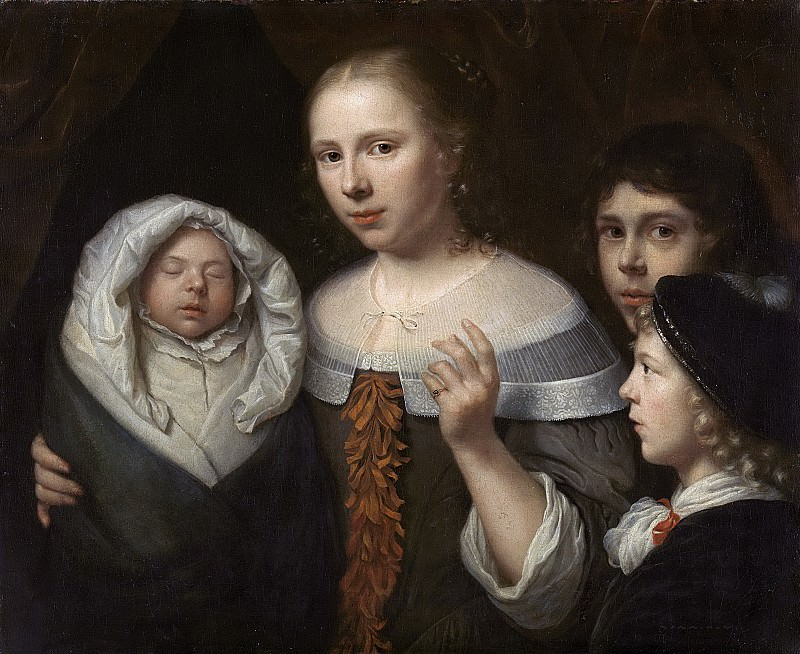 Vaillant, Wallerant -- Portret van een jonge vrouw met drie kinderen, 1650-1677. Rijksmuseum: part 2