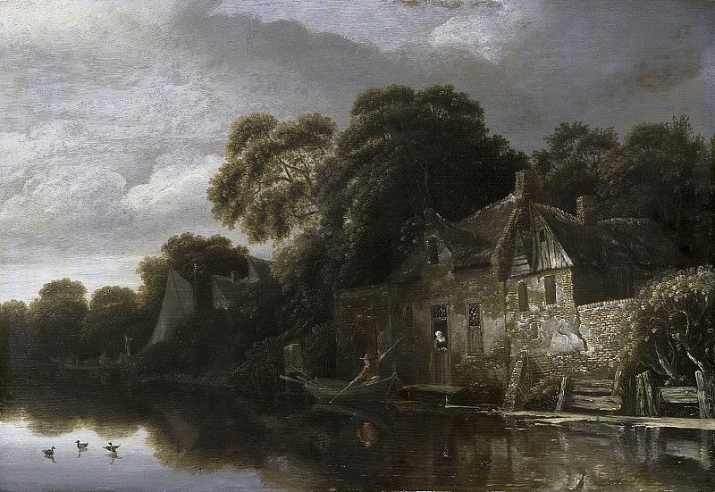 Михиль ван Врис -- Старый крестьянский дом у самой воды, 1656. Рейксмузеум: часть 2