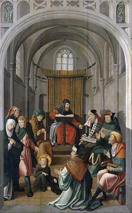 Meester van Alkmaar -- Altaarstuk met Jezus lerende in de tempel en de verschijning aan Maria, 1520-1535. Rijksmuseum: part 2