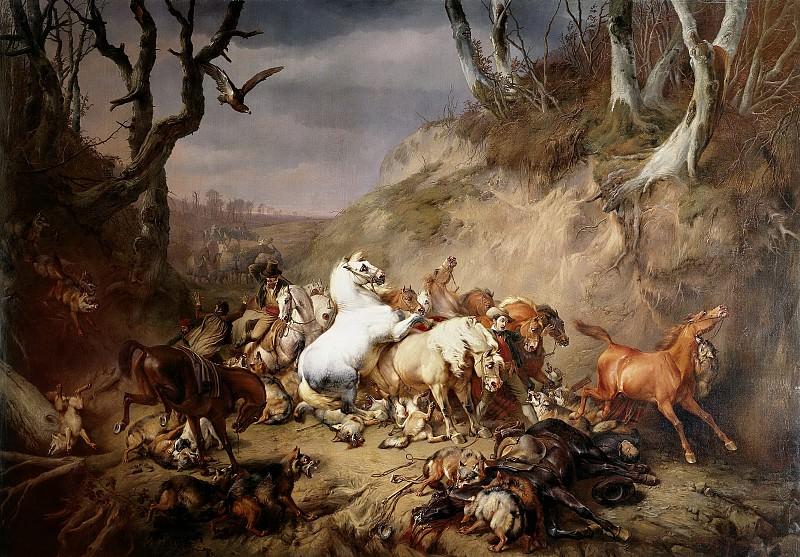 Verboeckhoven, Eugène Joseph -- Hongerige wolven overvallen een groep ruiters, 1836. Rijksmuseum: part 2