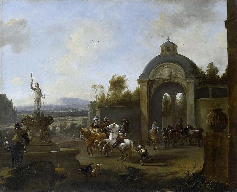 Питер Воуверман -- Компания охотников у фонтана, 1660-1682. Рейксмузеум: часть 2