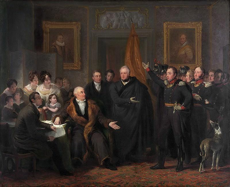 Ян Виллем Пинеман -- Прием 21 ноября 1813 года представителями власти трех офицеров, прибывших от принца Оранского, 1828. Рейксмузеум: часть 2