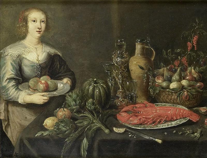Monogrammist AS (schilder) -- Een jonge vrouw bij een tafel met vruchten, 1625-1675. Rijksmuseum: part 2