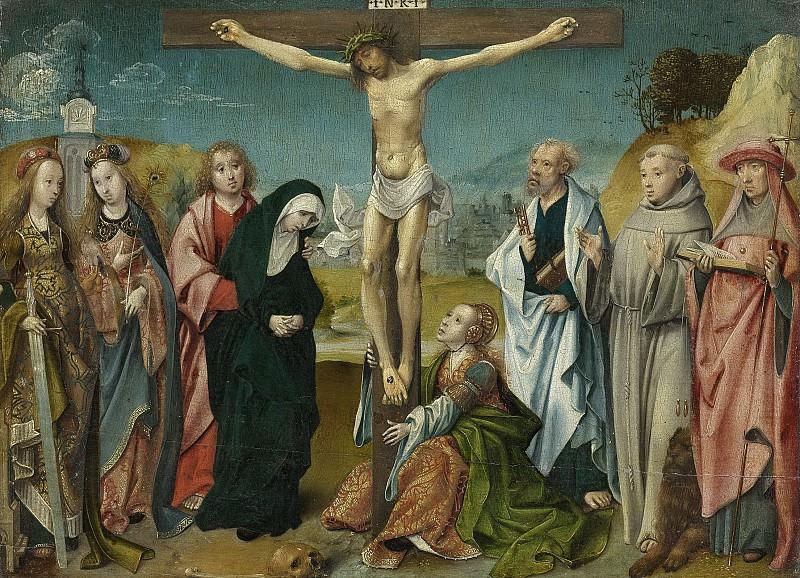 Корнелис Энгельбрехтс -- Христос на кресте, рядом Мария, Иоанн Креститель и Мария Магдалина, слева Святые Цецилия и Барбара, а справа Святые Петр, Франциск и Иероним, 1505-10. Рейксмузеум: часть 2