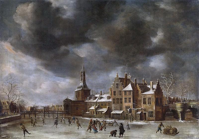Ян Абрахамс Беерстратен -- Голубые ворота Лейдена зимой, 1635-65. Рейксмузеум: часть 2