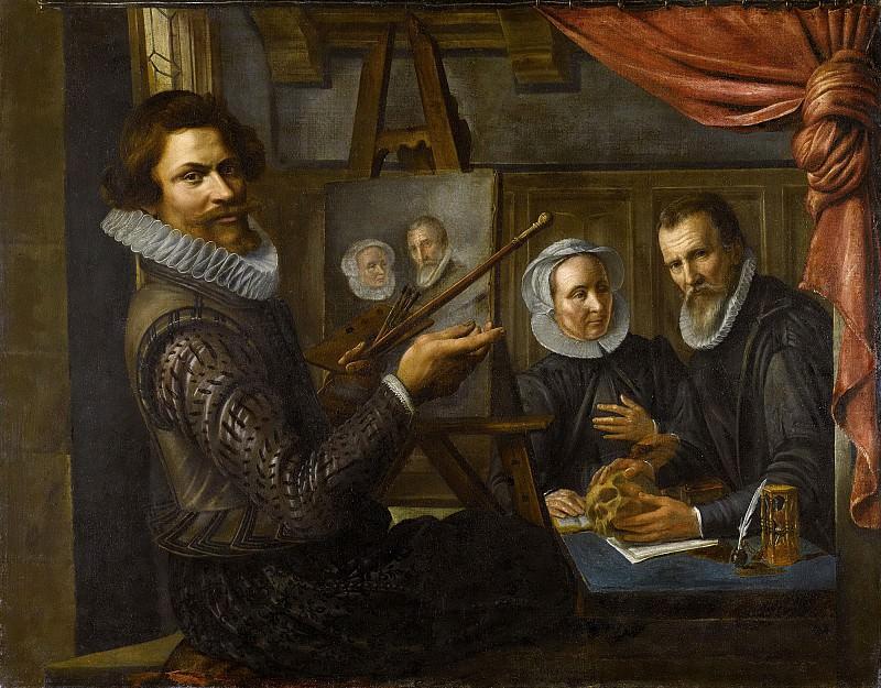 Vollenhoven, Herman van -- De schilder in zijn werkplaats bezig met het portretteren van een echtpaar, 1612. Rijksmuseum: part 2
