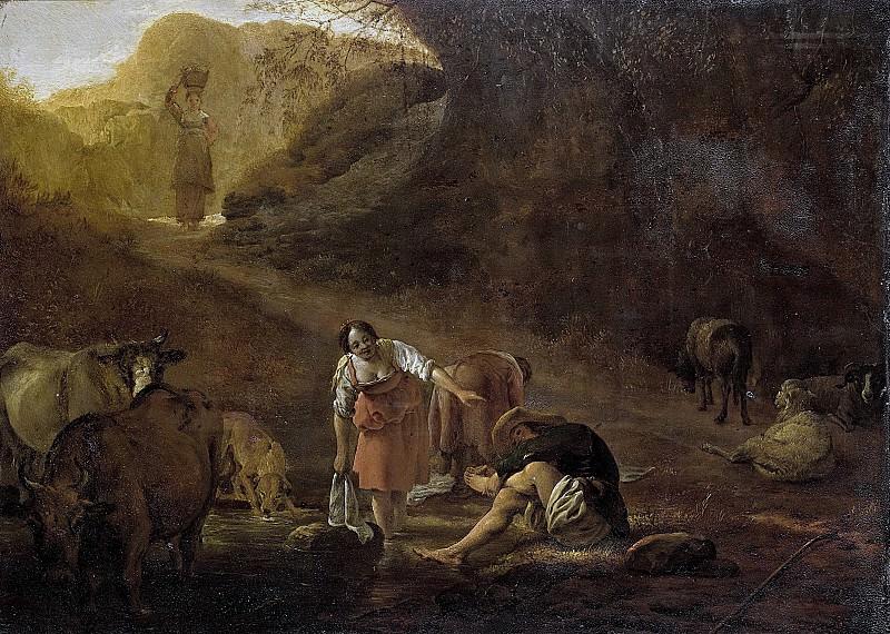Laer, Pieter Bodding van -- Een herder en wasvrouwen bij een bron, 1630-1637. Rijksmuseum: part 2