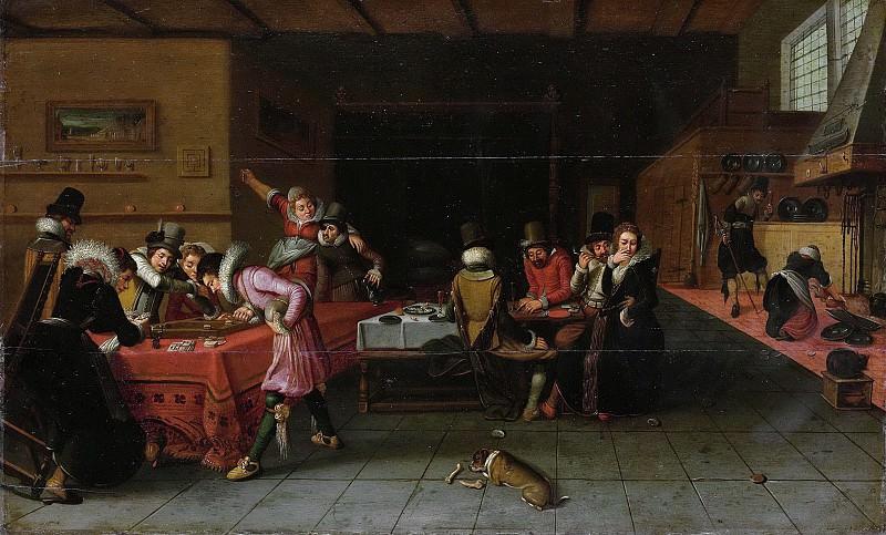 Unknown artist -- Interieur met drinkende en spelende mensen, 1620-1625. Rijksmuseum: part 2