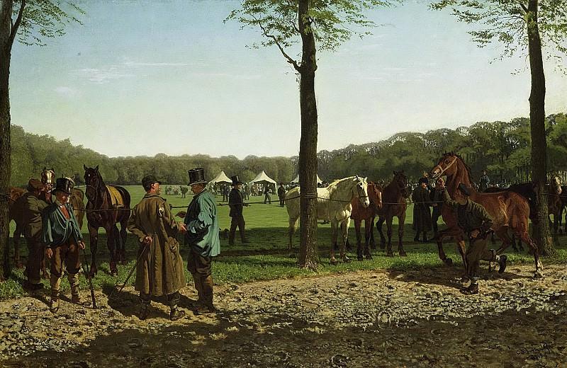 Схермер, Корнелис Альберт Йоханнес -- Лошадиный рынок на поляне Малибаан в Гааге, 1858. Рейксмузеум: часть 2