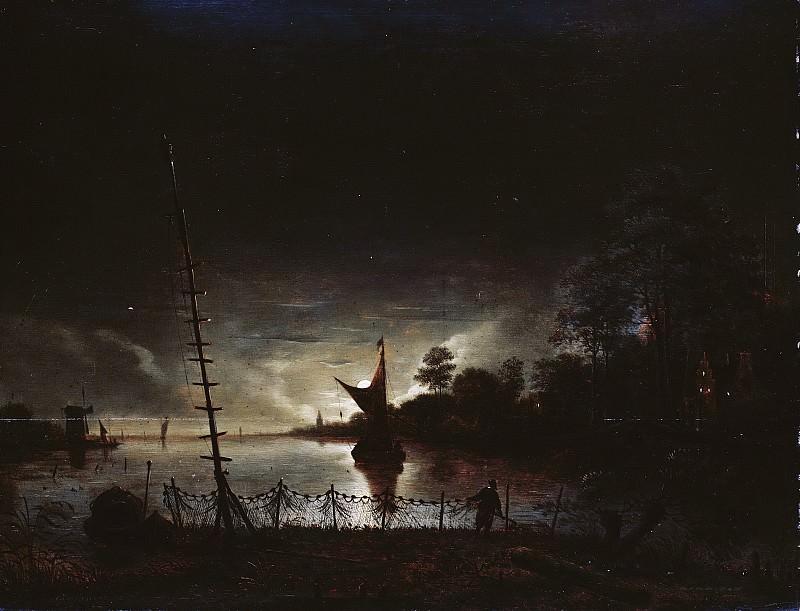 Антони ван Борссом -- Пейзаж при свете луны, 1640-1677. Рейксмузеум: часть 2