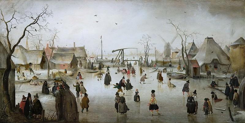 Хендрик Аверкам -- Катание на коньках в деревне, 1610. Рейксмузеум: часть 2