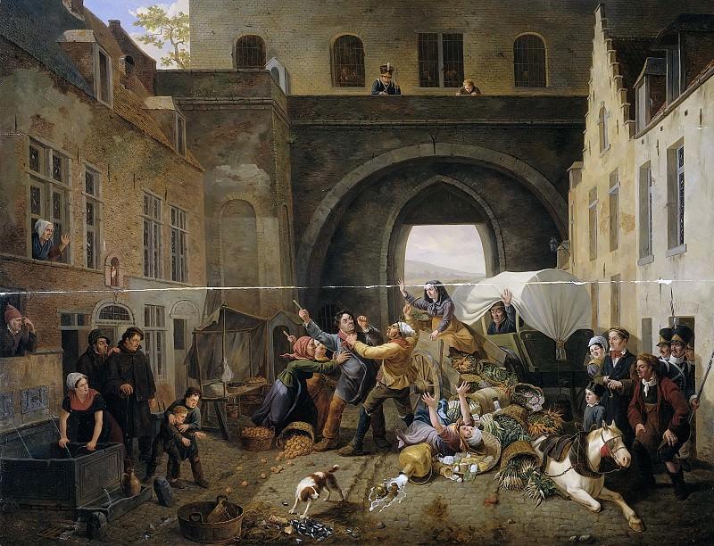 Coene, Constantinus Fidelio -- Een aanrijding bij de Halpoort te Brussel (Alcoholsmokkel), 1823. Rijksmuseum: part 2