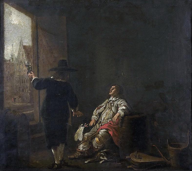 Cuyp, Aelbert -- Uithangbord van een wijnhandelaar, het proeven van wijn (ene kant); het kuipen der wijnvaten (andere kant), 1640-1650. Rijksmuseum: part 2