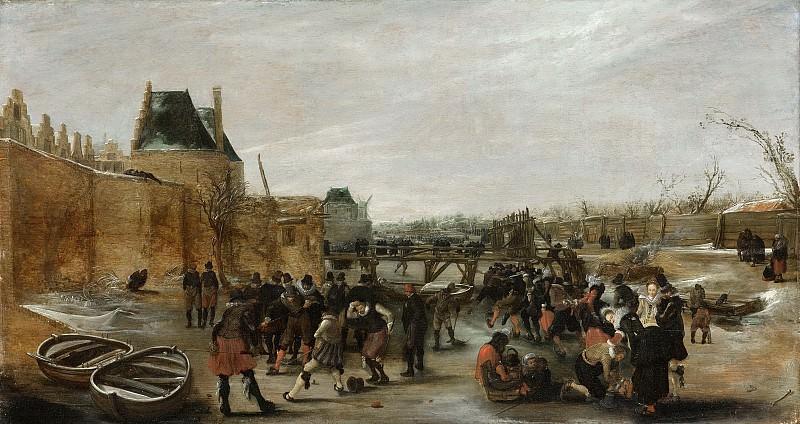 Avercamp, Hendrick -- IJsvermaak op een stadsgracht, 1615-1620. Rijksmuseum: part 2