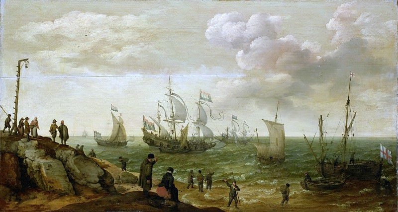 Адам Виллартс -- Корабли у побережья, 1628. Рейксмузеум: часть 2