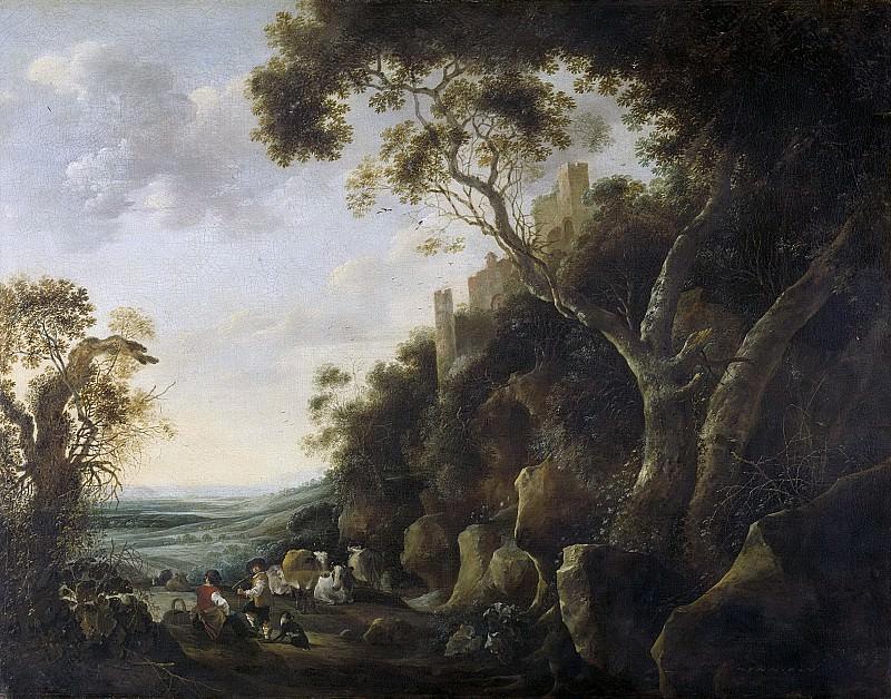 Hondecoeter, Gijsbert Gillisz. de -- Landschap met herders, 1652. Rijksmuseum: part 2