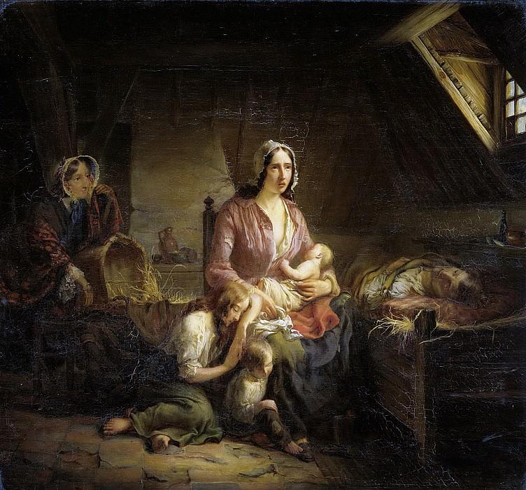 Terlaak, Gerardus -- Een rijke dame bezoekt een arm huisgezin, 1853. Rijksmuseum: part 2