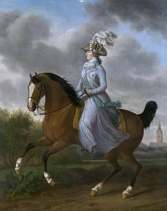Haag, Tethart Philip Christian -- Frederika Sophia Wilhelmina van Pruisen (1751-1820). Echtgenote van prins Willem V, te paard, 1789. Rijksmuseum: part 2