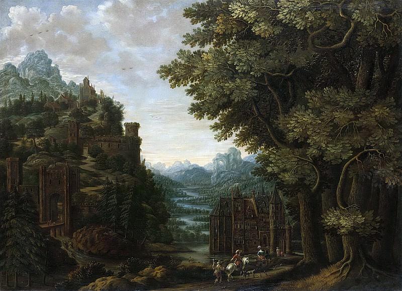 Ян Мерхоут -- Долина реки и замки в гористой местности, 1661. Рейксмузеум: часть 2