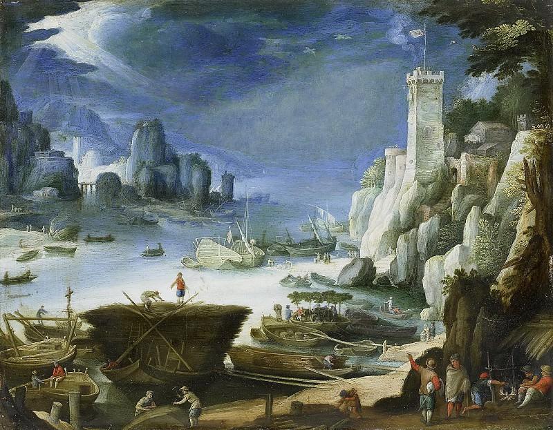 Bril, Paul -- Riviergezicht met rotsen., 1601. Rijksmuseum: part 2