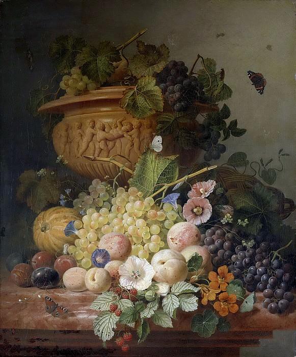 Eelkema, Eelke Jelles -- Stilleven met bloemen en vruchten, 1824. Rijksmuseum: part 2