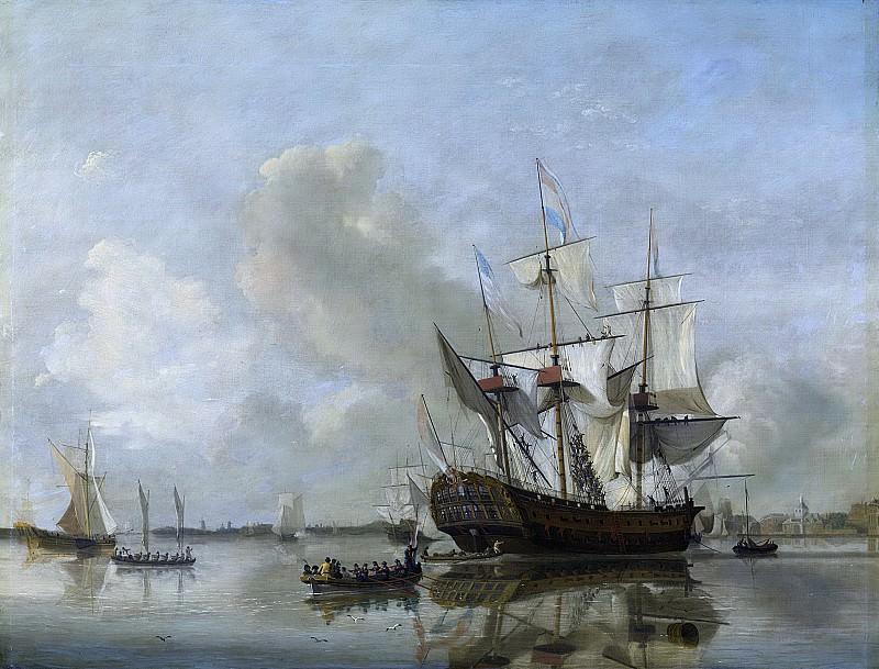 Baur, Nicolaas -- s Lands fregat 'Rotterdam' op de Maas voor Rotterdam, 1807. Rijksmuseum: part 2