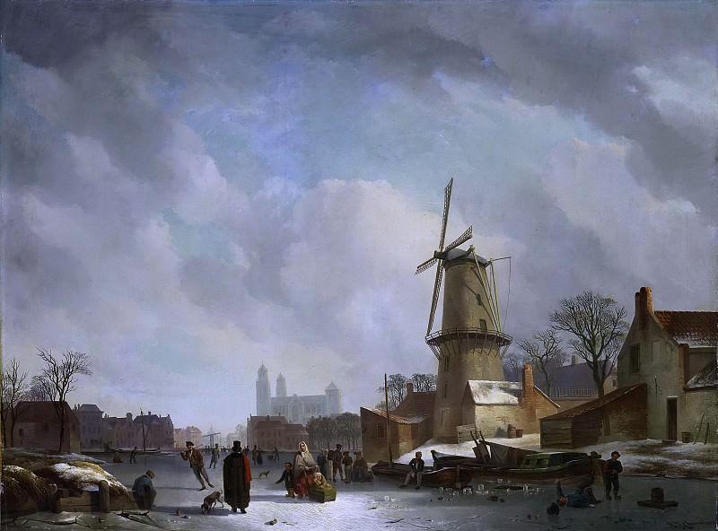 Абрахам Йоханнес Коувенберг -- Развлечения на льду городского канала, 1830-1837. Рейксмузеум: часть 2