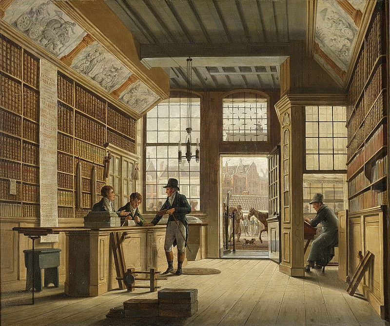 Jelgerhuis, Johannes -- De winkel van boekhandelaar Pieter Meijer Warnars op de Vijgendam te Amsterdam, 1820. Rijksmuseum: part 2